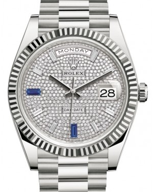 Rolex Day-Date 40 White Gold Diamond Pave & Sapphires Dial Fluted Bezel President Bracelet 228239 - BRAND NEW