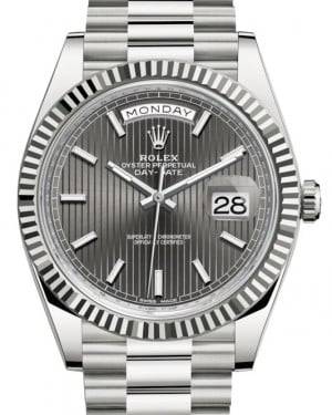 Rolex Day-Date 40 White Gold Dark Rhodium Stripe Motif Index Dial & Fluted Bezel President Bracelet 228239 - BRAND NEW