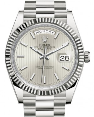 Rolex Day-Date 40 White Gold Silver Stripe Motif Index Dial & Fluted Bezel President Bracelet 228239 - BRAND NEW