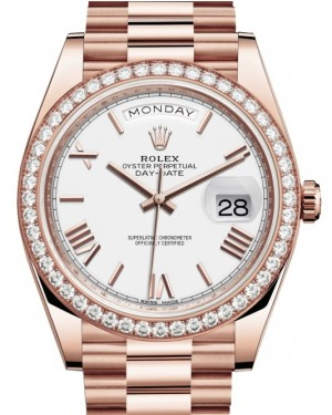 Rolex Day-Date 40 Rose Gold White Roman Dial & Diamond Bezel President Bracelet 228345RBR - BRAND NEW