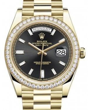 Rolex Day-Date 40 Yellow Gold Black Diamond Dial & Diamond Bezel President Bracelet 228348RBR - BRAND NEW