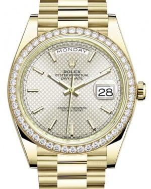 Rolex Day-Date 40 Yellow Gold Silver Diagonal Motif Index Dial & Diamond Bezel President Bracelet 228348RBR - BRAND NEW