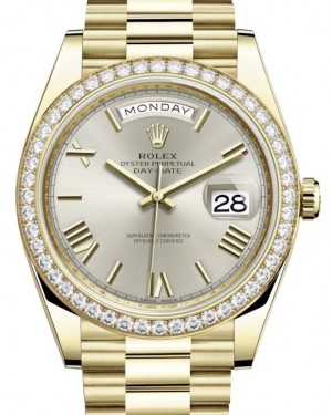 Rolex Day-Date 40 Yellow Gold Silver Roman Dial & Diamond Bezel President Bracelet 228348RBR - BRAND NEW