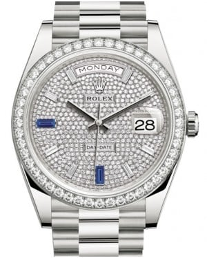 Rolex Day-Date 40 White Gold Diamond Pave Dial with Sapphires & Diamond Bezel President Bracelet 228349RBR - BRAND NEW