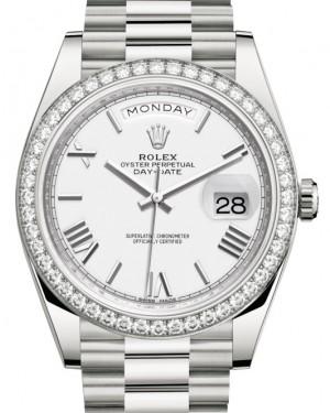 Rolex Day-Date 40 White Gold White Roman Dial & Diamond Bezel President Bracelet 228349RBR - BRAND NEW