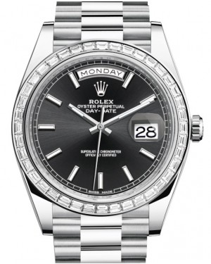 Rolex Day-Date 40 Platinum Black Index Dial & Diamond Bezel President Bracelet 228396TBR - BRAND NEW