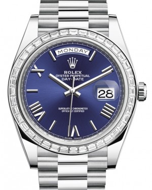 Rolex Day-Date 40 Platinum Blue Roman Dial & Diamond Bezel President Bracelet 228396TBR - BRAND NEW