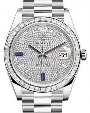 Rolex Day-Date 40 Platinum Diamond Pave Dial with Sapphires & Diamond Bezel President Bracelet 228396TBR - BRAND NEW