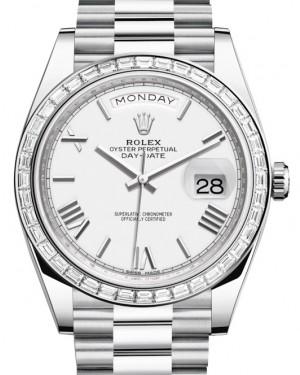 Rolex Day-Date 40 Platinum White Roman Dial & Diamond Bezel President Bracelet 228396TBR - BRAND NEW