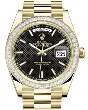 Rolex Day-Date 40 Yellow Gold Black Diagonal Motif Index Dial & Diamond Bezel President Bracelet 228398TBR - BRAND NEW