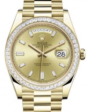 Rolex Day-Date 40 Yellow Gold Champagne Diamond Dial & Baguette Diamond Bezel President Bracelet 228398TBR - BRAND NEW