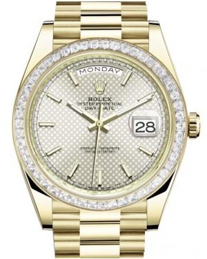Rolex Day-Date 40 Yellow Gold Silver Motif Index Dial & Diamond Bezel President Bracelet 228398TBR - BRAND NEW