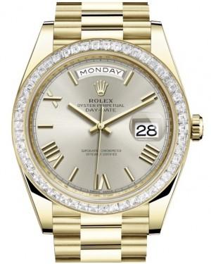 Rolex Day-Date 40 Yellow Gold Silver Roman Dial & Diamond Bezel President Bracelet 228398TBR - BRAND NEW
