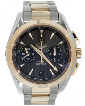 Omega Aqua Terra 150M Co-Axial GMT Chronograph 231.20.43.52.06.001 43mm Grey Index Red Gold Stainless Steel - BRAND NEW