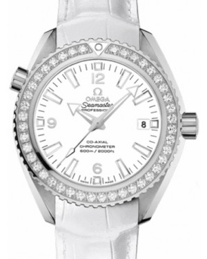 Omega 232.18.42.21.04.001 Planet Ocean 600M Co-Axial 42mm White Arabic Diamond Bezel Stainless Steel Leather - BRAND NEW