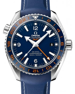 Omega 232.32.44.22.03.001 Planet Ocean 600M Co-Axial GMT 43.5mm Blue Ceramic Orange Stainless Steel Rubber - BRAND NEW