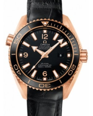 Omega 232.63.38.20.01.001 Planet Ocean 600M Co-Axial 37.5mm Black Ceramic Rose Gold Leather - BRAND NEW