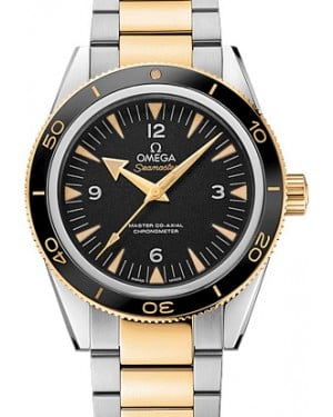 Omega 233.20.41.21.01.002 Seamaster 300 Master Co-Axial 41mm Black Arabic Index Yellow Gold Stainless Steel BRAND NEW