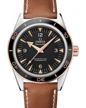 Omega 233.22.41.21.01.002 Seamaster 300 Master Co-Axial 41mm Black Arabic Index Stainless Steel Leather BRAND NEW