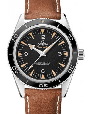 Omega 233.32.41.21.01.002 Seamaster 300 Master Co-Axial 41mm Black Arabic Index Stainless Steel Leather - BRAND NEW