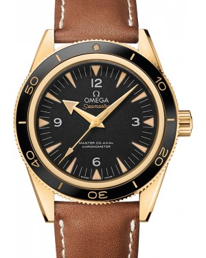 Omega 233.62.41.21.01.001 Seamaster 300 Master Co-Axial 41mm Black Arabic Index Yellow Gold Leather BRAND NEW