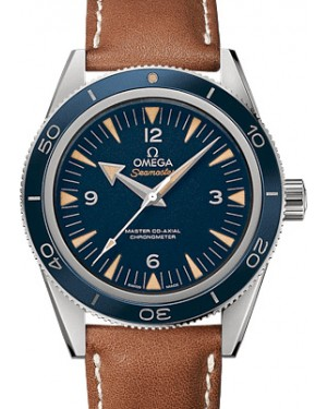 Omega 233.92.41.21.03.001 Seamaster 300 Master Co-Axial 41mm Blue Arabic Index Stainless Steel Leather BRAND NEW