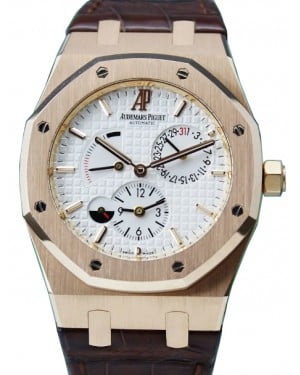 Audemars Piguet 26120OR.OO.D088CR.01 Royal Oak Dual Time 39mm Silver Index Rose Gold Leather BRAND NEW