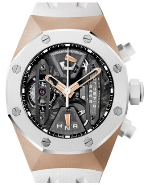 Audemars Piguet 26223RO.OO.D010CA.01 Royal Oak Concept Tourbillon Chronograph 44mm Openworked White Ceramic Rose Gold Rubber BRAND NEW