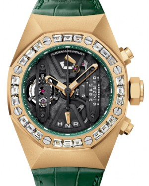 Audemars Piguet 26224BA.ZZ.D400CR.01 Royal Oak Concept Tourbillon Chronograph 44mm Openworked Diamond Bezel Yellow Gold Green Leather BRAND NEW