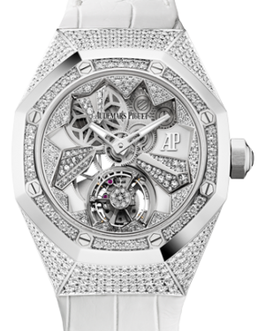 Audemars Piguet Royal Oak Concept Flying Tourbillon 26227BC.ZZ.D011CR.01 Skeleton Diamond Paved Diamond Set White Gold Leather 38.5mm - BRAND NEW
