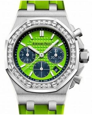 Audemars Piguet Royal Oak Offshore Selfwinding Chronograph 26231ST.ZZ.D038CA.01 Green Index Diamond Stainless Steel Rubber 37mm BRAND NEW