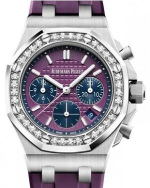 Audemars Piguet Royal Oak Offshore Selfwinding Chronograph 26231ST.ZZ.D075CA.01 Purple Index Diamond Stainless Steel Rubber 37mm BRAND NEW