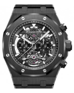 Audemars Piguet Royal Oak Tourbillon Chronograph Openworked 26343CE.OO.1247CE.01 Skeleton Index Black Ceramic 44mm - BRAND NEW