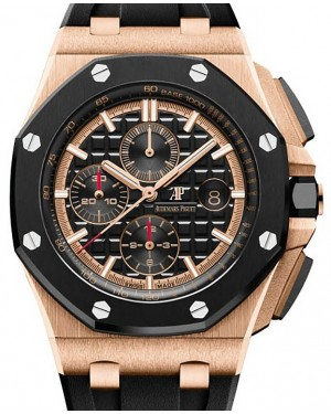 Audemars Piguet Royal Oak Offshore Chronograph 26401RO.OO.A002CA.02 Black Index Ceramic Bezel Rose Gold Rubber 44mm Automatic - BRAND NEW