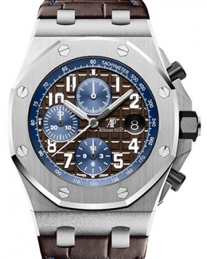 Audemars Piguet Royal Oak Offshore Selfwinding Chronograph Stainless Steel Brown Arabic Dial Leather 42mm 26470ST.OO.A099CR.01 - PRE-OWNED