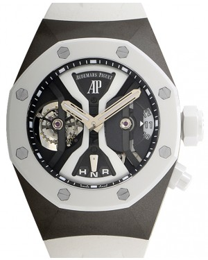 Audemars Piguet 26580IO.OO.D010CA.01 Royal Oak Concept Gmt Tourbillon 44mm Openworked White Ceramic Titanium Rubber BRAND NEW