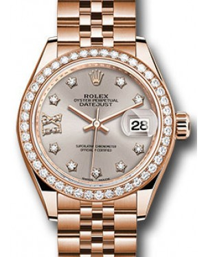 Rolex Datejust 28 279135 Sundust Diamond Roman 9 o' Clock Diamond Bezel Rose Gold Jubilee - BRAND NEW