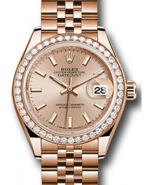 Rolex Datejust 28 279135 Sundust Index Diamond Bezel Rose Gold Jubilee - BRAND NEW