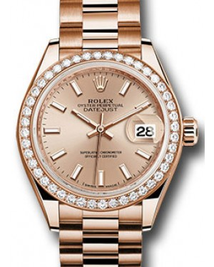 Rolex Datejust 28 279135 Sundust Index Diamond Bezel Rose Gold President - BRAND NEW