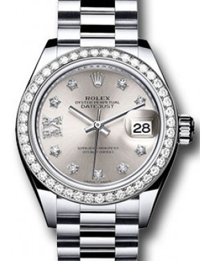 Rolex Datejust 28 279136 Silver Diamond Roman 9 o' Clock Diamond Bezel Platinum President - BRAND NEW