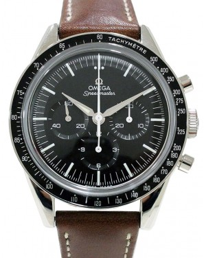 Omega 311.32.40.30.01.001 Speedmaster Moonwatch Numbered Edition 39.7mm Black Index Stainless Steel Leather BRAND NEW