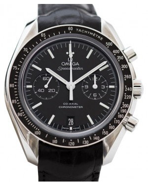 Omega 311.33.44.32.01.001 Speedmaster Moonwatch Professional Moonphase Chronograph 44.25mm Black Index Stainless Steel Leather BRAND NEW