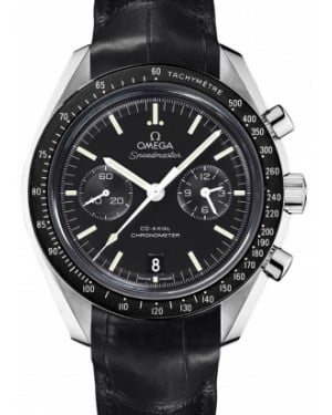 Omega 311.33.44.51.01.001 Speedmaster Moonwatch Co-Axial Chronograph 44.25mm Black Index Stainless Steel Leather BRAND NEW