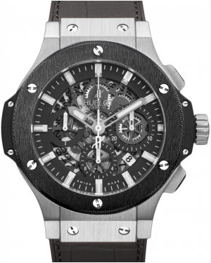 Hublot Big Bang Aero Bang 311.SM.1170.GR Skeleton Index Black Ceramic Bezel Stainless Steel Case & Leather 44mm BRAND NEW