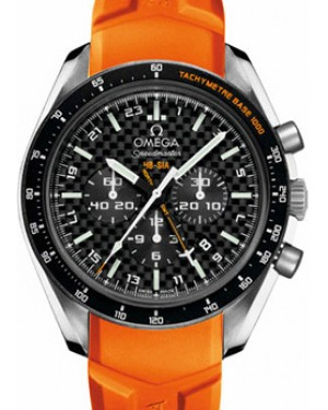 Omega 321.92.44.52.01.003 Speedmaster HB-SIA Co-Axial GMT Chronograph Numbered Edition 44.25mm Carbon Fiber Titanium Orange Rubber BRAND NEW