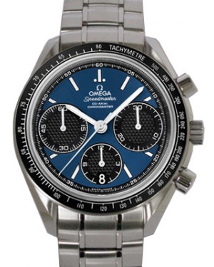 Omega 326.30.40.50.03.001 Speedmaster Racing Co-Axial Chronograph 40mm Blue Index Stainless Steel BRAND NEW