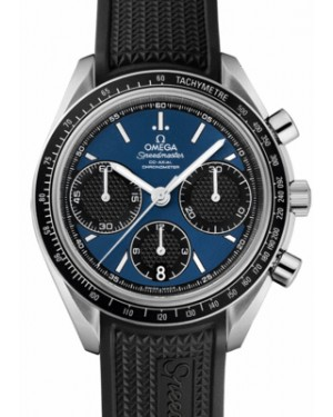 Omega 326.32.40.50.03.001 Speedmaster Racing Co-Axial Chronograph 40mm Blue Index Stainless Steel Rubber BRAND NEW