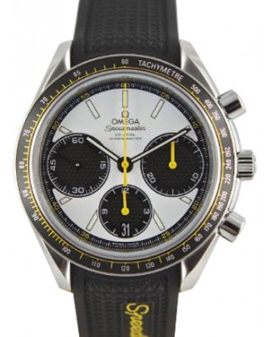 Omega 326.32.40.50.04.001 Speedmaster Racing Co-Axial Chronograph 40mm White Index Stainless Steel Rubber BRAND NEW