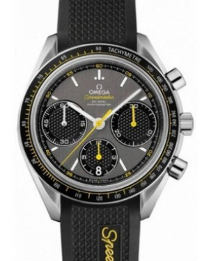 Omega 326.32.40.50.06.001 Speedmaster Racing Co-Axial Chronograph 40mm Grey Index Stainless Steel Rubber BRAND NEW