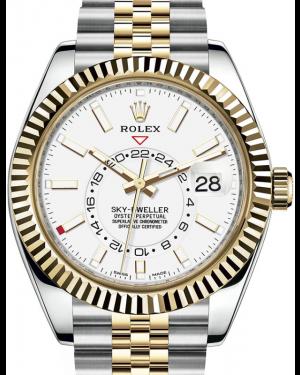 Rolex Sky-Dweller Yellow Gold/Steel White Index Dial Fluted Bezel Jubilee Bracelet 326933 - BRAND NEW